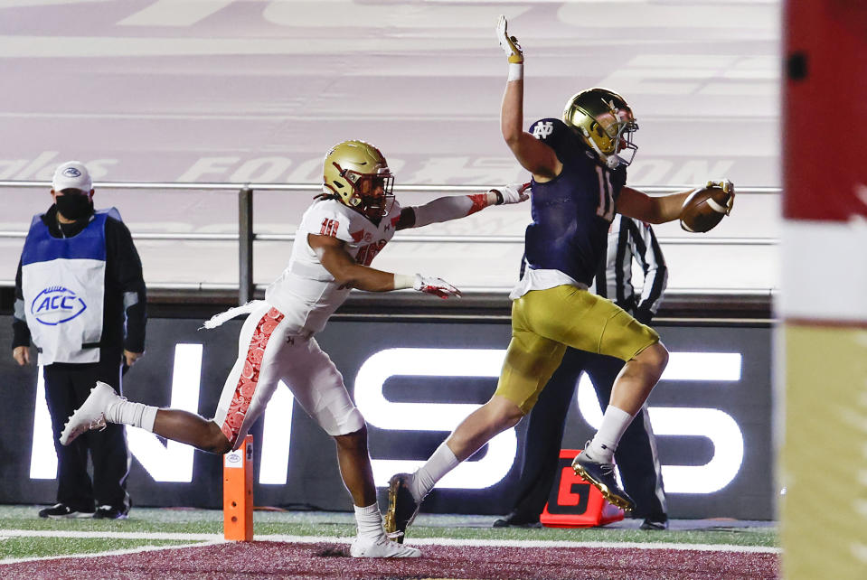 Notre Dame WR Ben Skowronek has helped his NFL draft cause recently. (Photo by Fred Kfoury III/Icon Sportswire via Getty Images)