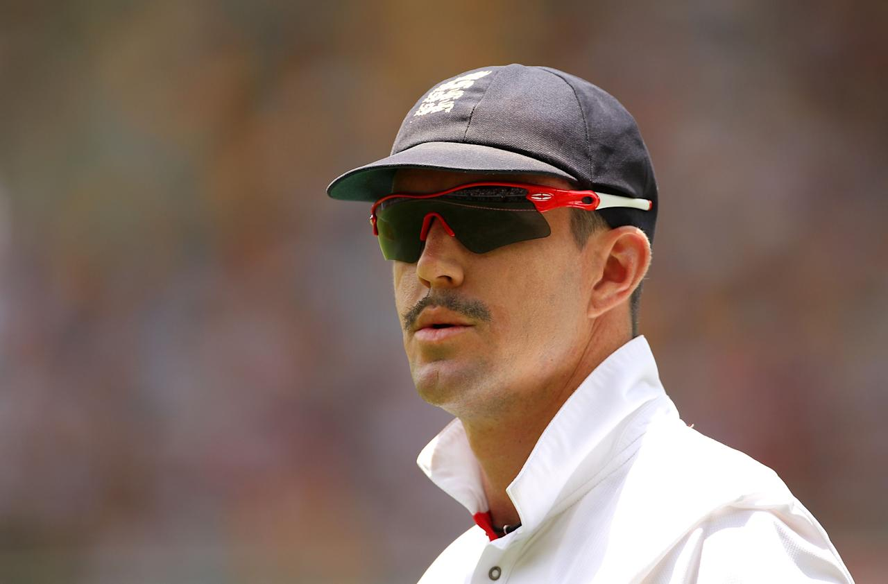 BRISBANE, AUSTRALIA - NOVEMBER 27:  Kevin Pietersen of England looks on during day three of the First Ashes Test match between Australia and England at The Gabba on November 27, 2010 in Brisbane, Australia.  (Photo by Cameron Spencer/Getty Images)