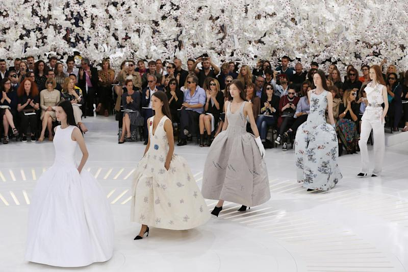 Models present creations for Christian Dior during the 2014/2015 Haute Couture Fall-Winter collection fashion show on July 7, 2014 in Paris (AFP Photo/Francois Guillot)