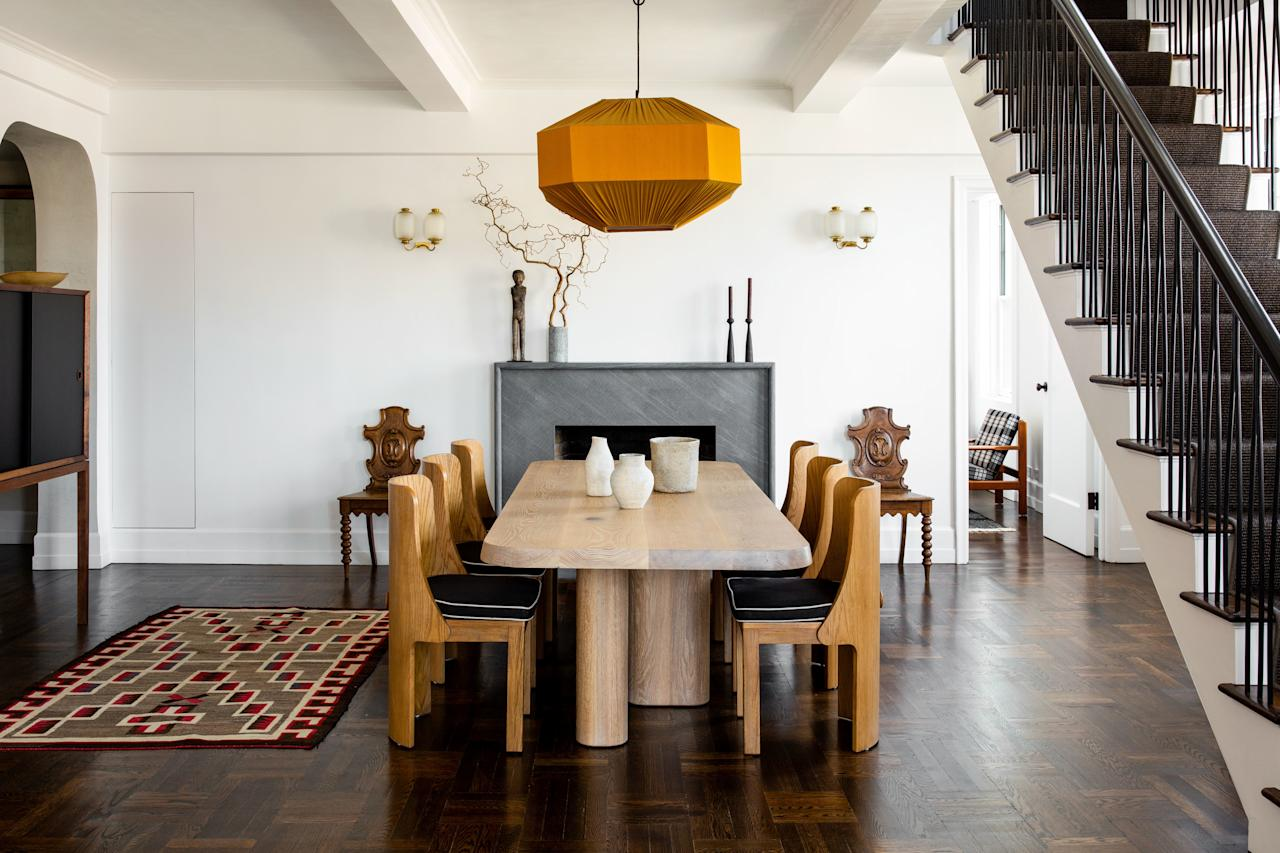 """<p>""""Leave room for the space to breathe,"""" says stylist Colin King. """"I love negative space. Every corner doesn't need something. Quieter moments can do a better job of drawing your eye to what's there.""""</p> <p>King followed this maxim when styling this minimal dining space, as seen in the March 2019 issue of <em>AD</em>, designed by Ashe Leandro for Seth Meyers.</p>"""