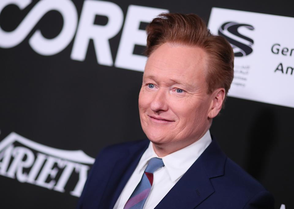 US television host Conan O'Brien arrives for the 10th Anniversary CORE (Community Organized Relief Effort) Gala at the Wiltern theatre in Los Angeles on January 15, 2020. - CORE (formerly known as J/P HRO) is marking the 10th anniversary of both the devastating 2010 Haitian earthquake and the subsequent founding of this organization by Sean Penn. (Photo by Jean-Baptiste LACROIX / AFP) (Photo by JEAN-BAPTISTE LACROIX/AFP via Getty Images)