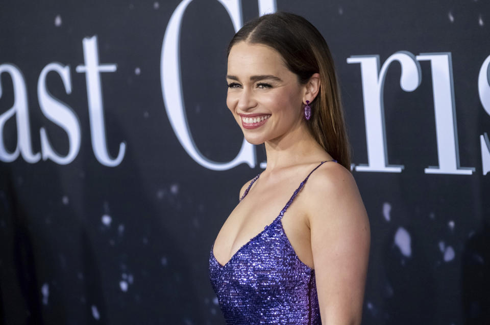 "Emilia Clarke attends the premiere of ""Last Christmas"" at AMC Lincoln Square on Tuesday, Oct. 29, 2019, in New York. (Photo by Charles Sykes/Invision/AP)"
