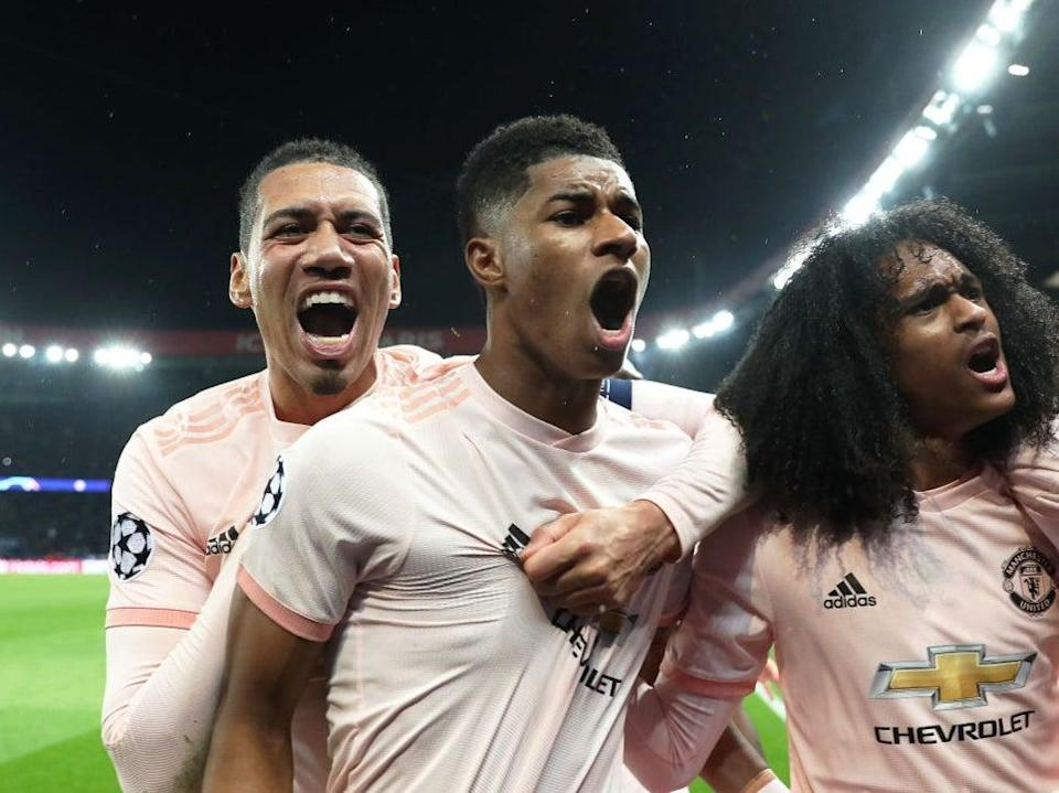 Marcus Rashford celebrates completing Manchester United's comeback against PSG in 2019Getty Images