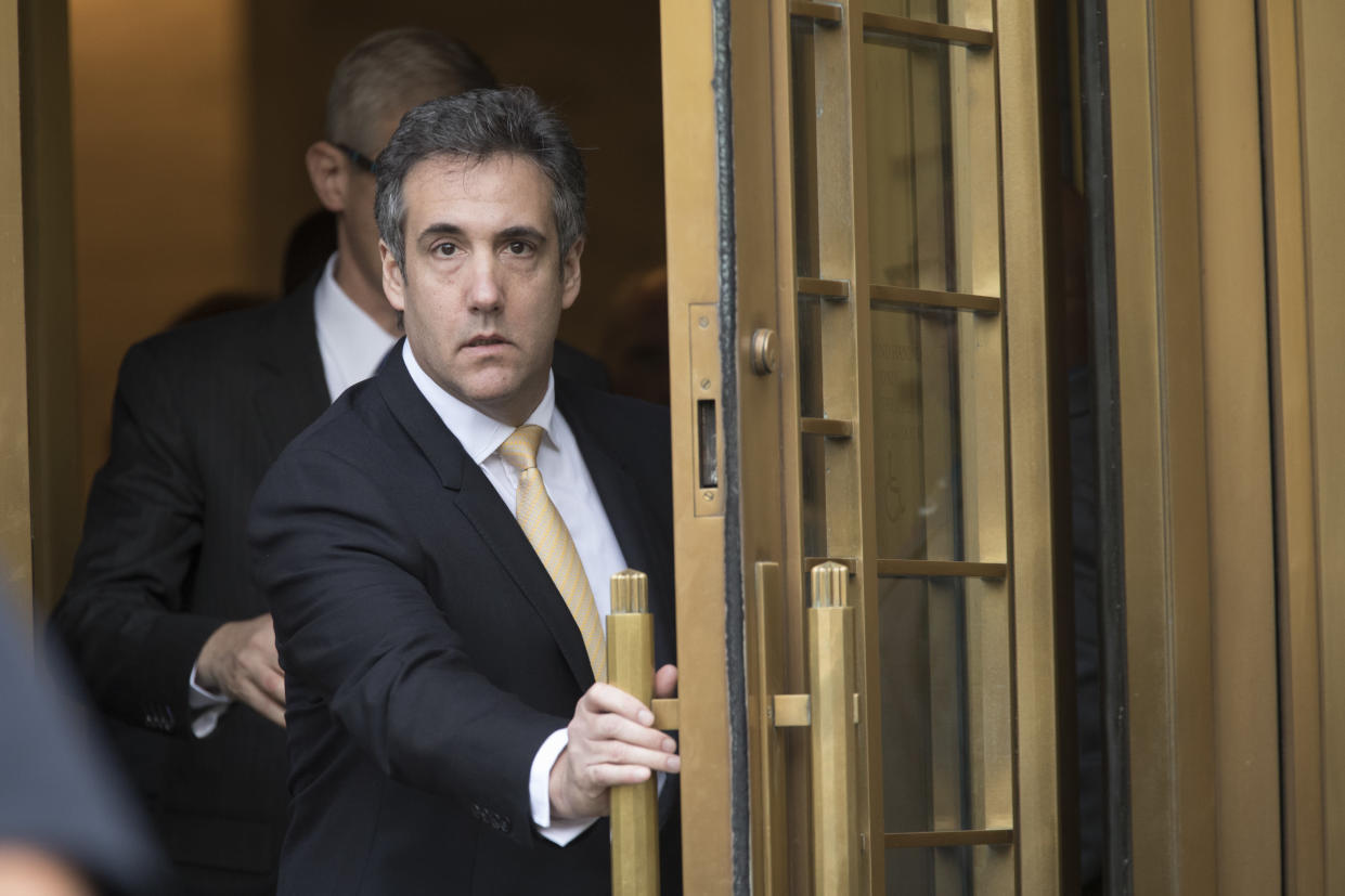 Michael Cohen leaves federal court in New York on Tuesday. (AP Photo/Mary Altaffer)