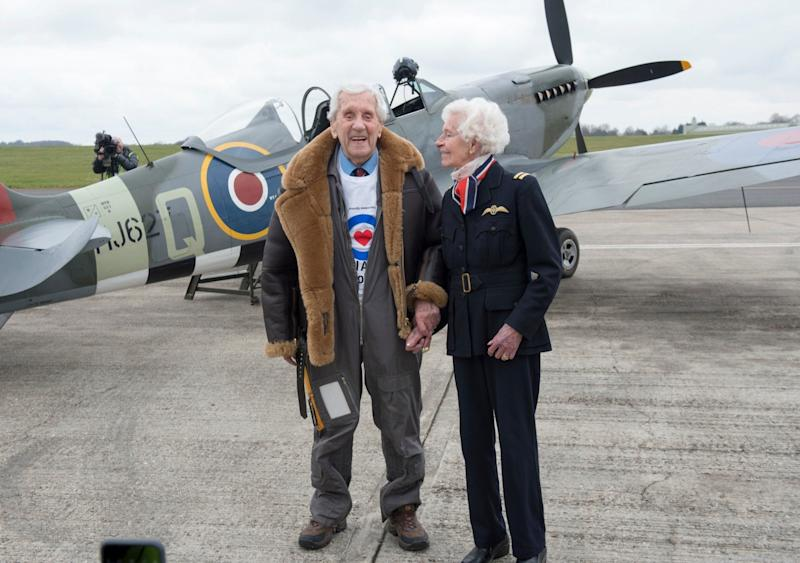 Allan Scottwith the Air Transport Auxiliary pilot Mary Ellis in April 2018 for the Centenary of the RAF - David Parker/Shutterstock