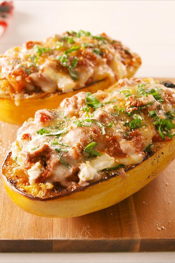 "<p>Tastes just as good as real pasta!</p><p>Get the recipe from <a href=""https://www.delish.com/cooking/recipe-ideas/a22108612/lasagna-spaghetti-squash-boats-recipe/"" rel=""nofollow noopener"" target=""_blank"" data-ylk=""slk:Delish."" class=""link rapid-noclick-resp"">Delish. </a></p>"