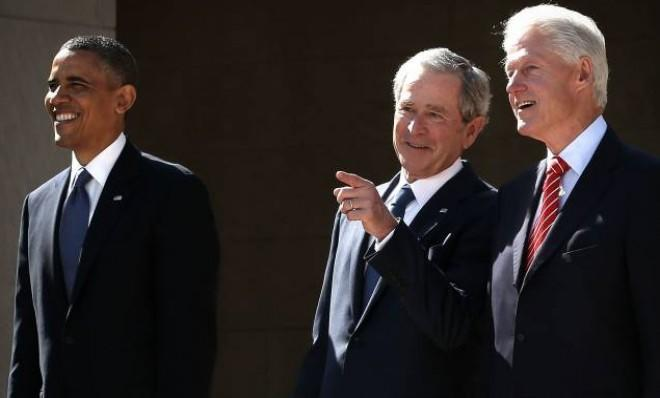 George W. Bush, with Presidents Obama and Clinton, at the opening of his presidential library on Thursday.