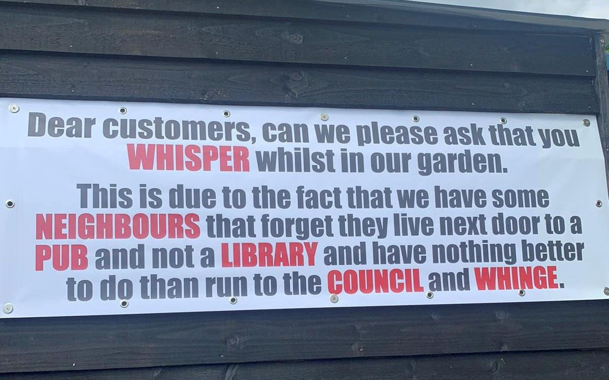 The sign at the Hare and Hounds asking customers to