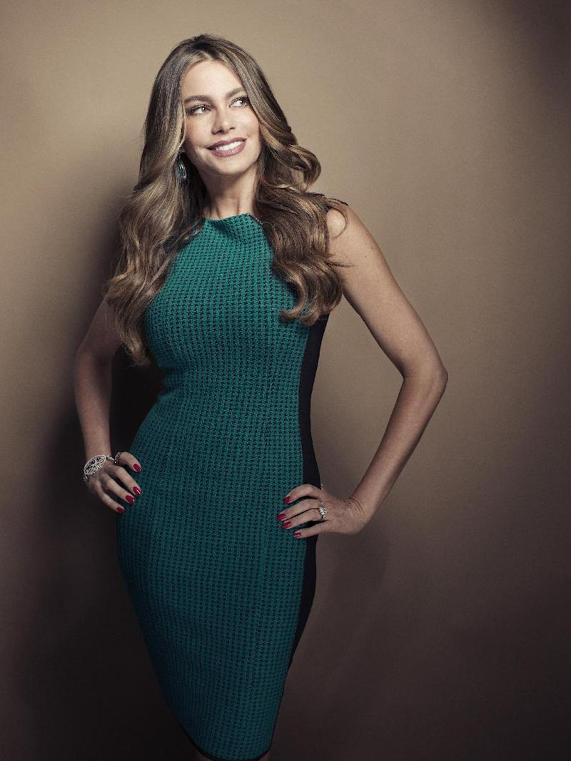 """CORRECTS SPELLING TO COLOMBIAN INSTEAD OF COLUMBIAN - Colombian actress Sofia Vergara poses for a portrait, on Wednesday, April 17, 2013 in New York. Vergara is currently on hiatus from """"Modern Family,"""" but has several films coming out , including a starring role in the Robert Rodriguez thriller, """"Machete Kills."""" (Photo by Victoria Will/Invision/AP)"""