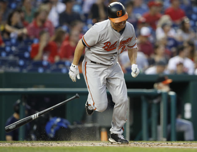 Baltimore Orioles' Danny Valencia runs to first after hitting a double during the fourth inning of a baseball game against the Washington Nationals at Nationals Park, Wednesday, June 20, 2018, in Washington. (AP Photo/Carolyn Kaster)