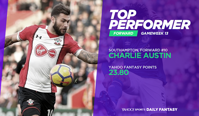 Charlie Austin scored twice in his first start of the season for Southampton.