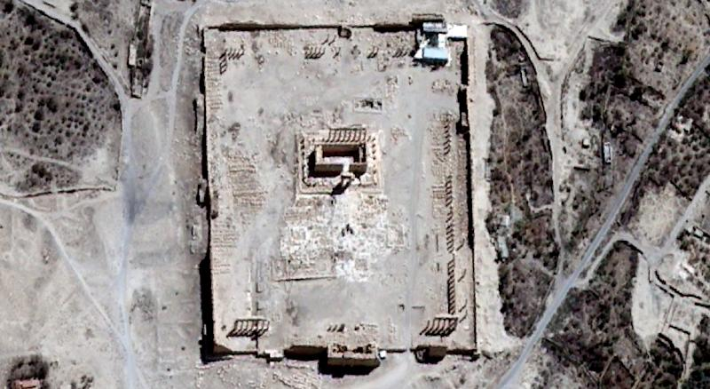 A close-up of a satellite-acquired image of the Temple of Bel in the ancient Syrian city of Palmyra pictured on August 27, 2015 in an image provided on August 31, 2015 by UNITAR-UNOSAT (AFP Photo/)
