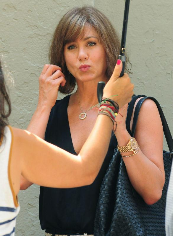 Jennifer Aniston Shows Off New Bob Haircut On Set In New York