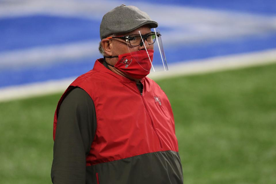DETROIT, MICHIGAN - DECEMBER 26: Head coach Bruce Arians of the Tampa Bay Buccaneers looks on prior to a game against the Detroit Lions at Ford Field on December 26, 2020 in Detroit, Michigan.  (Photo by Leon Halip/Getty Images)