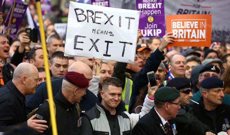 """Tommy Robinson takes part in a """"Brexit Betrayal"""" march and rally organised by Ukip in central London on Sunday. (PA)"""