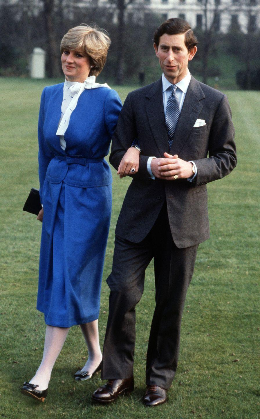 <p>For the photographs, Diana wore a cobalt blue skirt suit, made by British label Cojana. She paired the suit with a white blouse with a bow neck, white stockings, low black heels, and a black leather clutch. </p>