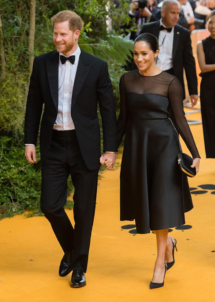 "Harry and Meghan attend ""The Lion King"" European premiere at Leicester Square in London."