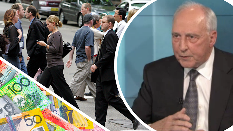 Pictured: Superannuation founding father Paul Keating, Australian workers and Australian money. Images: Getty, ABC 7:30