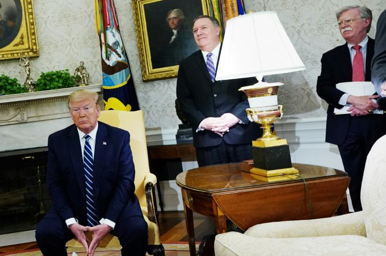 US President Donald Trump, Secretary of State Mike Pompeo and national security advisor John Bolton are seen during a White House meeting with Canada's Prime Minister Justin Trudeau in June 2019