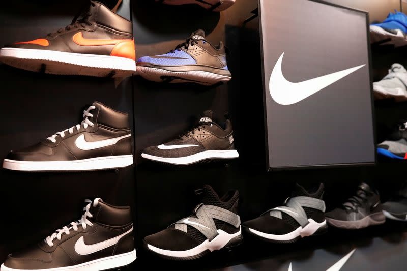 Nike shoes are seen on display in New York