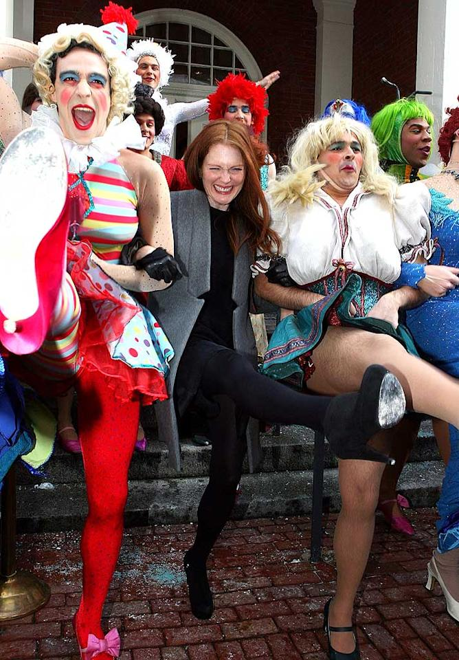 """Though her parade was canceled due to excessive snow, Julianne Moore was in great spirits when she was honored as Harvard University's Hasty Pudding Club's 2011 Woman Of The Year on Thursday in Massachusetts. Gail Oskin/<a href=""""http://www.wireimage.com"""" target=""""new"""">WireImage.com</a> - January 27, 2011"""