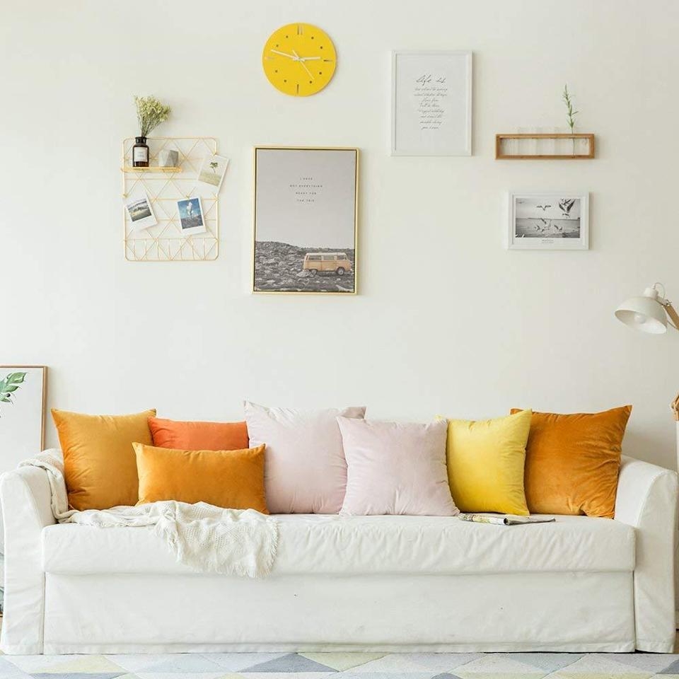 """<br>Accent your couch with a mix of sunset-hued orange, yellow and pink velvet-pillows for a space that feels like sunshine incarnate.<br><br><strong>MIULEE</strong> Velvet Throw Pillow Covers (Set of 2) , $, available at <a href=""""https://www.amazon.com/MIULEE-Velvet-Decorative-Cushion-Bedroom/dp/B07CG6SL2X/ref=sr_1_7"""" rel=""""nofollow noopener"""" target=""""_blank"""" data-ylk=""""slk:Amazon"""" class=""""link rapid-noclick-resp"""">Amazon</a><br><br><strong>Edow</strong> Throw Pillow Insert (Set of 2), $, available at <a href=""""https://www.amazon.com/Edow-Hypoallergenic-Alternative-Polyester-Decorative/dp/B07CM51W6V/ref=sr_1_4"""" rel=""""nofollow noopener"""" target=""""_blank"""" data-ylk=""""slk:Amazon"""" class=""""link rapid-noclick-resp"""">Amazon</a>"""
