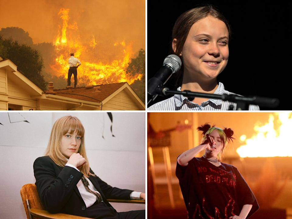Top left clockwise: Wildfires in California, Greta Thunberg, Billie Eilish and The Weather Station (Getty)