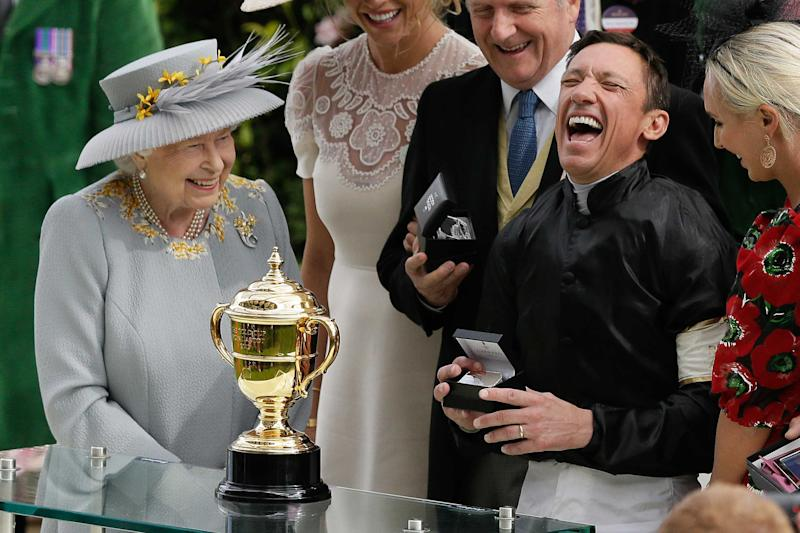 Frankie Dettori celebrates with The Queen after partnering Stradivarius to his second Gold Cup at Royal Ascot in 2019