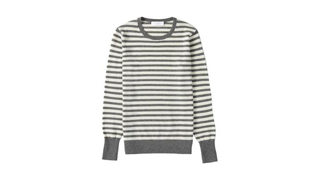 "<p>The cashmere crew, $100,<a href=""https://www.everlane.com/products/womens-cashmere-crew2-charcoal-bonestripe?collection=womens-sweaters"" rel=""nofollow noopener"" target=""_blank"" data-ylk=""slk:everlane.com"" class=""link rapid-noclick-resp""> everlane.com</a> </p>"