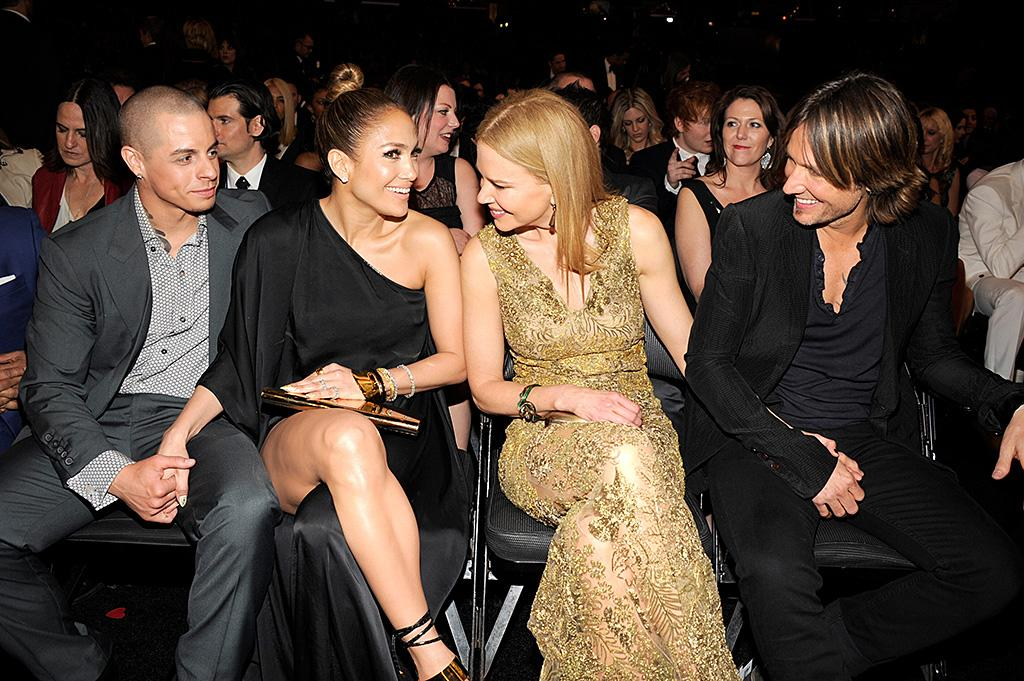 LOS ANGELES, CA - FEBRUARY 10:  Casper Smart, Jennifer Lopez, Nicole Kidman and Keith Urban attend the 55th Annual GRAMMY Awards at STAPLES Center on February 10, 2013 in Los Angeles, California.  (Photo by Kevin Mazur/WireImage)