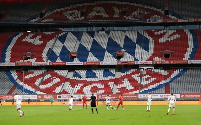 The terraces stand empty at the Allianz Arena for Bayern Munich's home win over Eintracht Frankfurt last month. (AFP Photo/ANDREAS GEBERT)