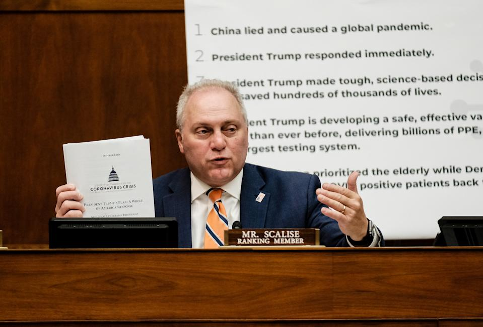 Rep. Steve Scalise (R-LA) at a hearing before the House Select Subcommittee on the Coronavirus Crisis in the Rayburn Building on October 2, 2020 in Washington, DC . (Photo by Micahel A. McCoy - Pool/Getty Images)