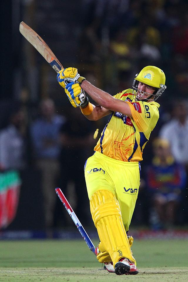 Michael Hussey is bowled by Stuart Binny during match 61 of the Pepsi Indian Premier League ( IPL) 2013  between The Rajasthan Royals and the Chennai Super Kings held at the Sawai Mansingh Stadium in Jaipur on the 12th May 2013. (BCCI)