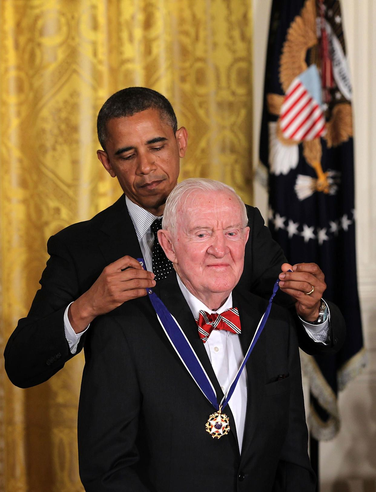 Justice John Paul Stevens is presented with the Presidential Medal of Freedom by President Barack Obama during an East Room event on May 29, 2012. The Medal of Freedom, the nation's highest civilian honor, isgiven to individuals who have made especially meritorious contributions to the security or national interests of the United States, to world peace, or to cultural or other significant public or private endeavors.