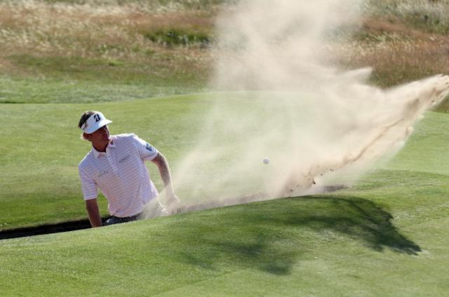 US golfer Brandt Snedeker plays his shot at the 2014 British Open Golf Championship in Hoylake, north west England on July 17, 2014 (AFP Photo/Peter Muhly)