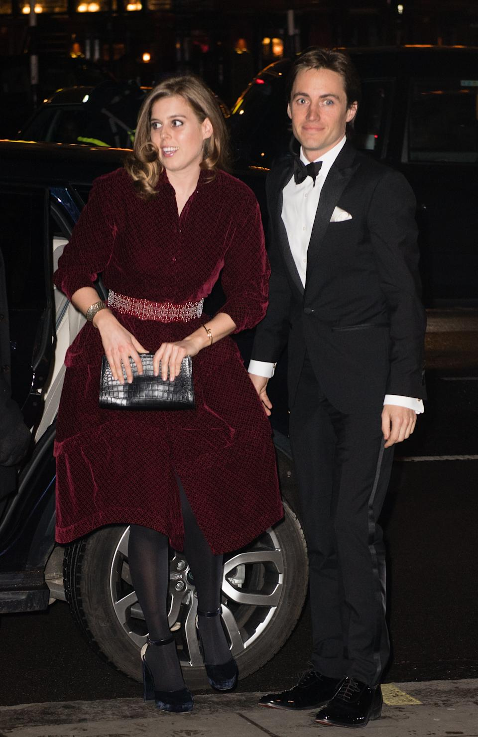 Princess Beatrice of York and Edoardo Mapelli Mozzi attend the Portrait Gala 2019 at the National Portrait Gallery on March 12, 2019 in London, England