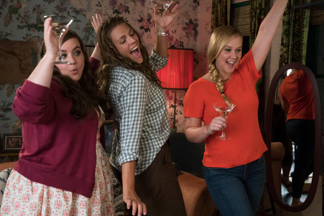 Aidy Bryant, Busy Philipps, and Amy Schumer in a scene from <em>I Feel Pretty.</em> (Mark Schafer/STX via AP)
