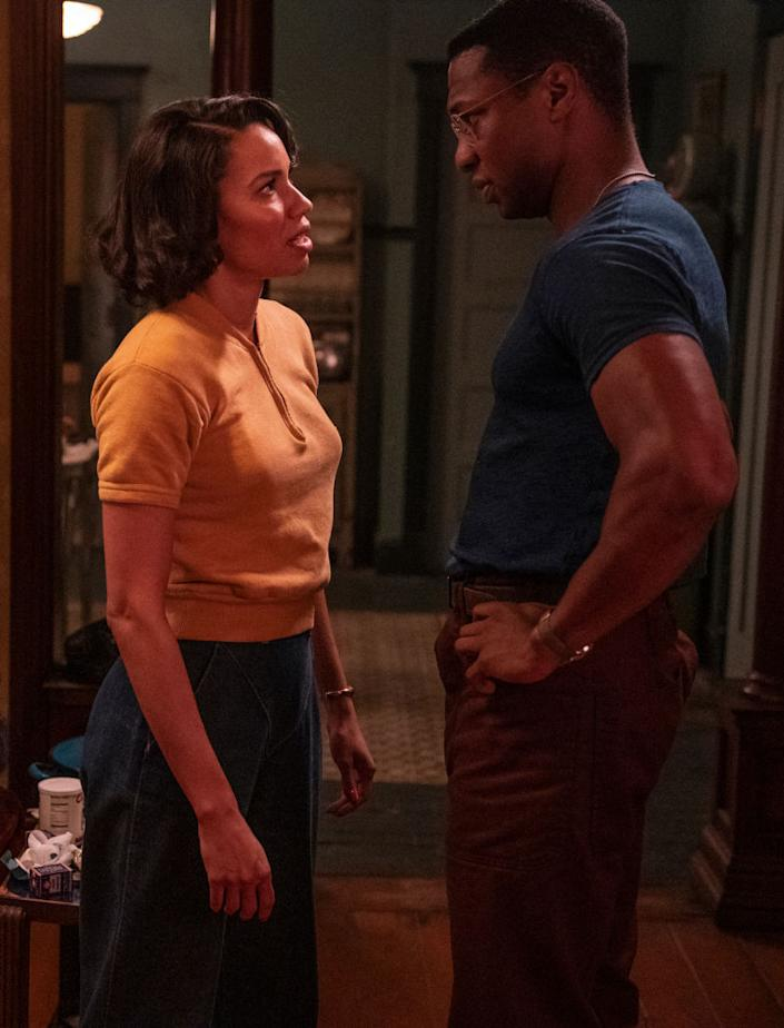 Jurnee Smollett (left), Jonathan Majors (right)