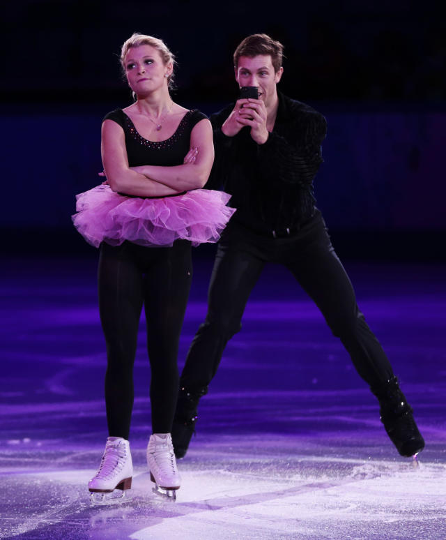 Kirsten Moore-Towers and Dylan Moscovitch of Canada perform during the figure skating exhibition gala at the Iceberg Skating Palace during the 2014 Winter Olympics, Saturday, Feb. 22, 2014, in Sochi, Russia. (AP Photo/Ivan Sekretarev)