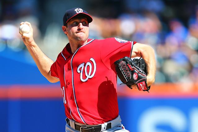 Max Scherzer pitched 25 more innings than Clayton Kershaw this season. (Getty Images)