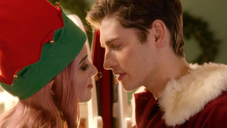 """<p><strong>The Perfect Date</strong>'s Laura Marano takes on the role of Katherine """"Kat"""" Decker, an aspiring singer who's stuck in the shadow of her overbearing stepmother and stepsisters. Fortunately, her seasonal job working as a singing elf at a Christmas fair brings her in contact with the handsome Nick (<strong>Runaways</strong>' Gregg Sulkin), who plays a Santa on the tree lot. The two hit it off, and soon Kat finds herself invited to a prestigious gala that draws the jealousy of her stepsisters. </p> <p>Watch <a href=""""https://www.netflix.com/title/81148811"""" class=""""link rapid-noclick-resp"""" rel=""""nofollow noopener"""" target=""""_blank"""" data-ylk=""""slk:A Cinderella Story: Christmas Wish""""><strong>A Cinderella Story: Christmas Wish</strong></a> on Netflix now.</p>"""