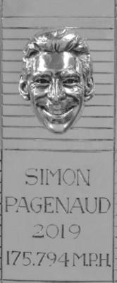 Sterling silver likeness of 2019 Indianapolis 500 Winner Simon Pagenaud for the Borg-Warner Trophy