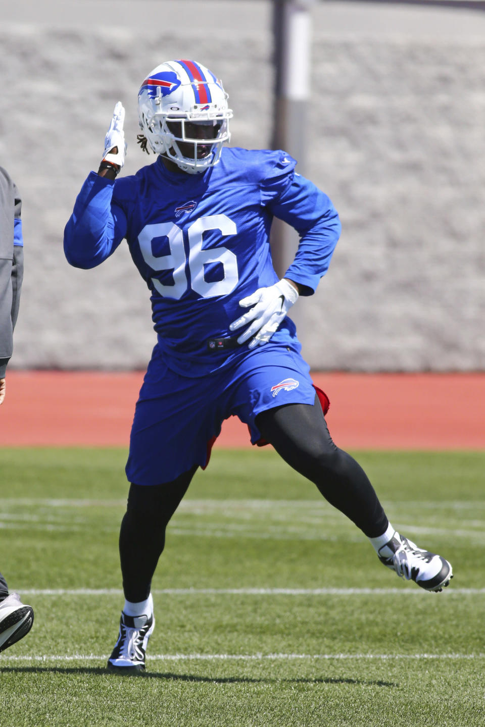 Buffalo Bills defensive end Boogie Basham (96) runs a drill during an NFL football rookie minicamp in Orchard Park, N.Y., Friday, May 14, 2021. (AP Photo/Jeffrey T. Barnes)