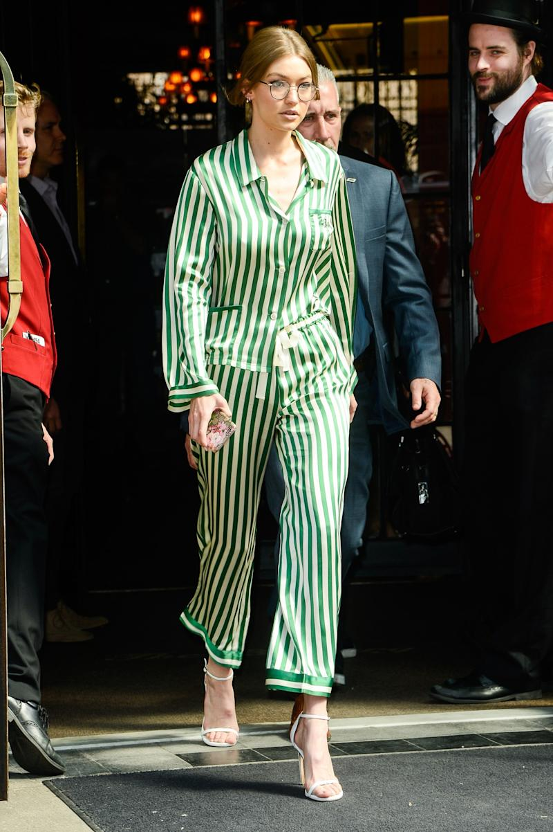 47eb1d6775 Gigi Hadid Stepped Out in Striped Pajamas and Looked So Chic (and Comfy!)