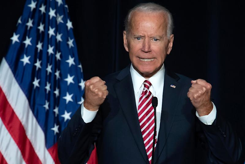 Joe Biden addresses Democrat party activists at a speech in Dover, Delaware in March (AFP Photo/SAUL LOEB)