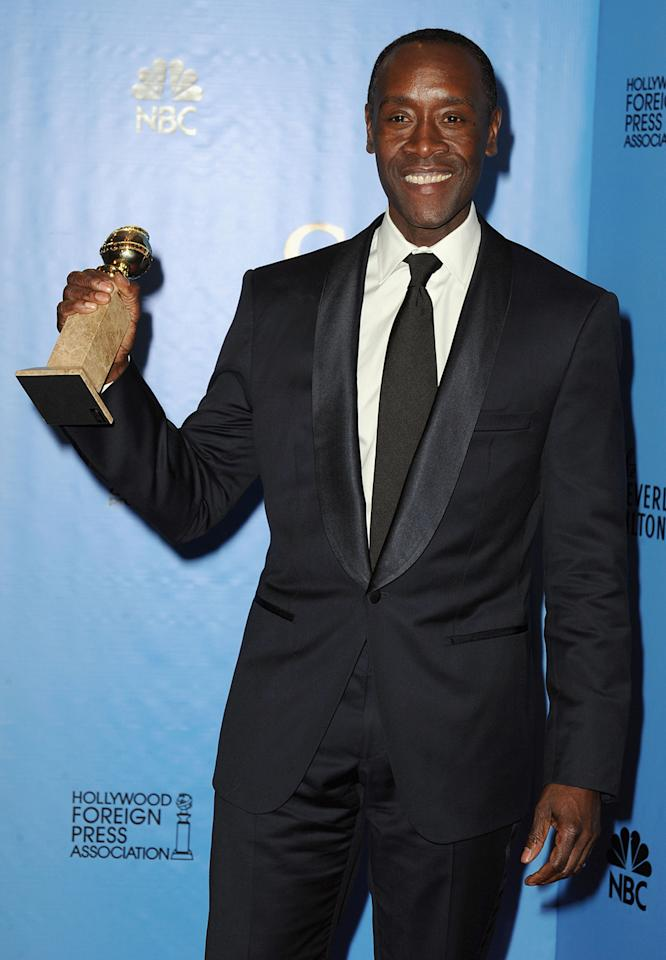 Don Cheadle poses in the press room at the 70th Annual Golden Globe Awards held at The Beverly Hilton Hotel on January 13, 2013 in Beverly Hills, California.  (Photo by Steve Granitz/WireImage)