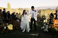 During the recessional, we jumped over the broom at the end of the aisle to solidify our union. Jumping over the broom is an African-American wedding tradition dating back to slavery.