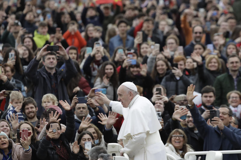 Pope Francis arrives in St. Peter's Square at the Vatican for his weekly general audience, Wednesday, Feb. 26, 2020. (AP Photo/Alessandra Tarantino)
