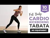 """<ul><li><strong>Equipment</strong>: None </li></ul><p>In the fitness world, the word Tabata is synonymous with hard work. It's compromised of hard work interspersed with rest periods. This short 10-minute cardio Tabata workout will get your heart rate up and juices (sweat) flowing. </p><p><a href=""""https://www.youtube.com/watch?v=1FRhkeWxbVM&ab_channel=nourishmovelove"""" rel=""""nofollow noopener"""" target=""""_blank"""" data-ylk=""""slk:See the original post on Youtube"""" class=""""link rapid-noclick-resp"""">See the original post on Youtube</a></p>"""