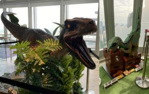 The life-sized and Lego model of velociraptor Blue. Photos: Coconuts